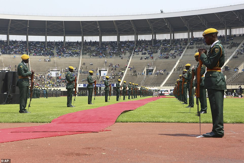 Terribly low attendance at mugabe funeral . The stadium where the funeral was held has a capacity of 60,000 but less than 5 percent filled the stadium this week photo by AP