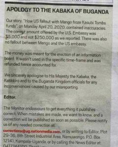 Apology letter to the kabaka of Buganda Kingdom