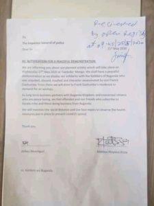 Abtex's letter to Uganda police