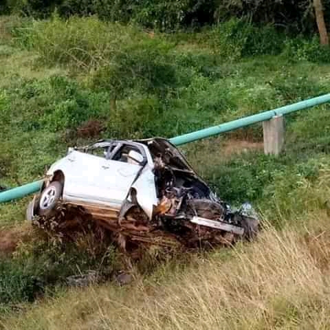 The wreckage of the Toyota premio that was involved in the accident.